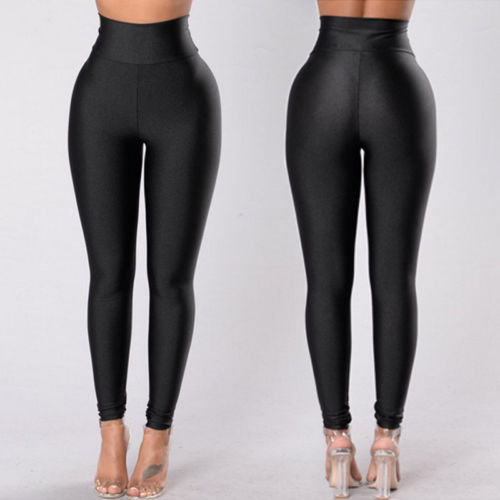 Womens Black Fitness Leggings Pants Compression Trousers Fitness Imitation Slim Leggings