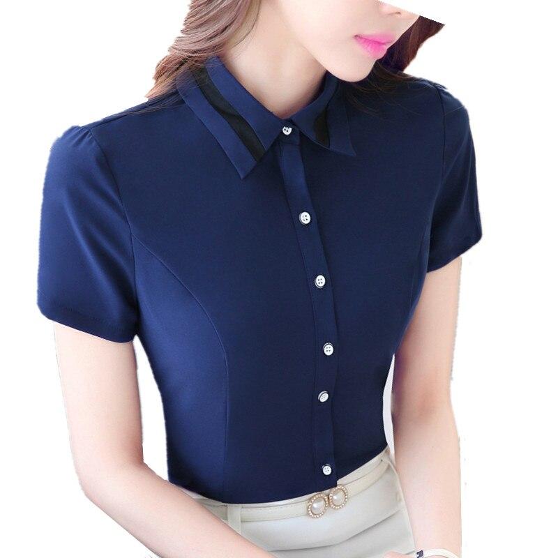 239e2e018 مكتب قميص المرأة الملابس أزياء الأعمال القمصان قصيرة الأكمام ضئيلة السيدات  blusa الشيفون المرأة بلوزة زائد حجم قمم رسمية