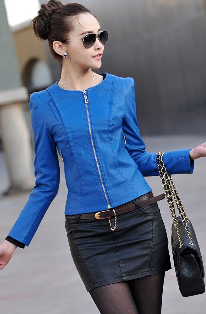 Leather Jacket Women Jaqueta Couro Cardigans Zipper Oneck Fashion