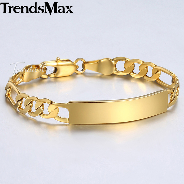 Trendsmax Baby S Bracelet Gold Filled Figaro Chain Smooth Bangle Link For Child Boys