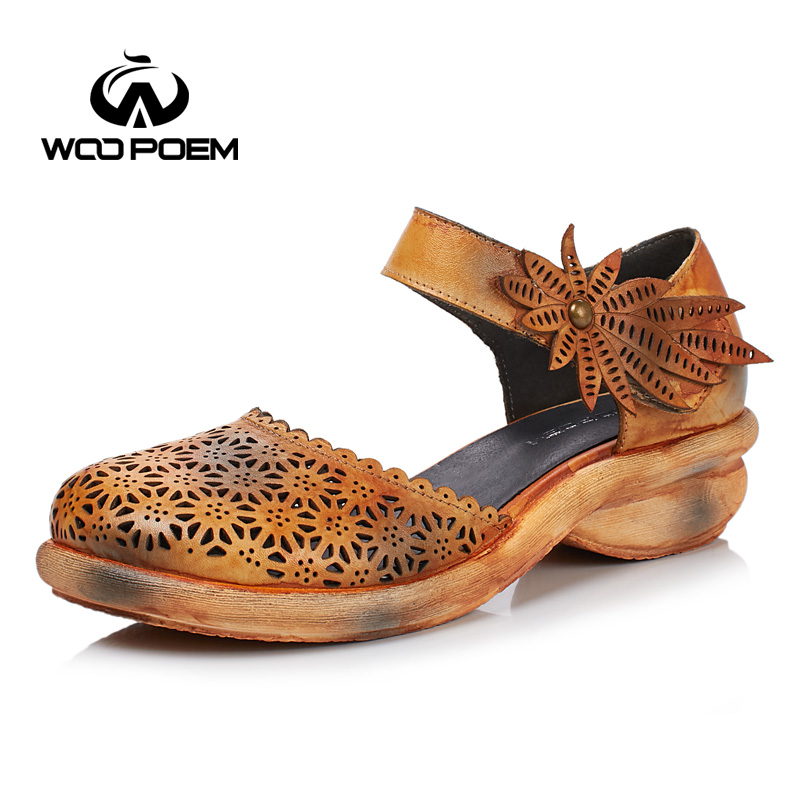 WooPoem Summer Shoes Woman Genuine Leather Sandals Women Med Heel Wedges Retro Flower Sandale Femme Shoes Ankle Strap W17X168-5 new women sandals low heel wedges summer casual single shoes woman sandal fashion soft sandals free shipping