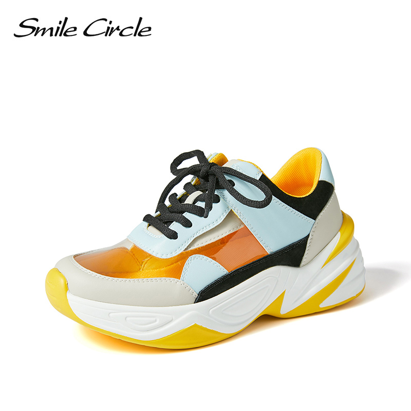 Smile Circle 2019 Spring Women Shoes Transparent Sneakers For Women Fashion Lace up casual Sneakers Flat Platform Shoes-in Women's Vulcanize Shoes from Shoes    1