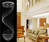 Lámpara de techo de cristal decorativa lámpara de cristal espiral lustres de sala para escalera villa escalera lámpara de iluminación MD20018