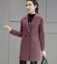 Korean Style new autumn Winter Women Woolen Coat Pockets Double Breasted Button V Neck Jacket outwear