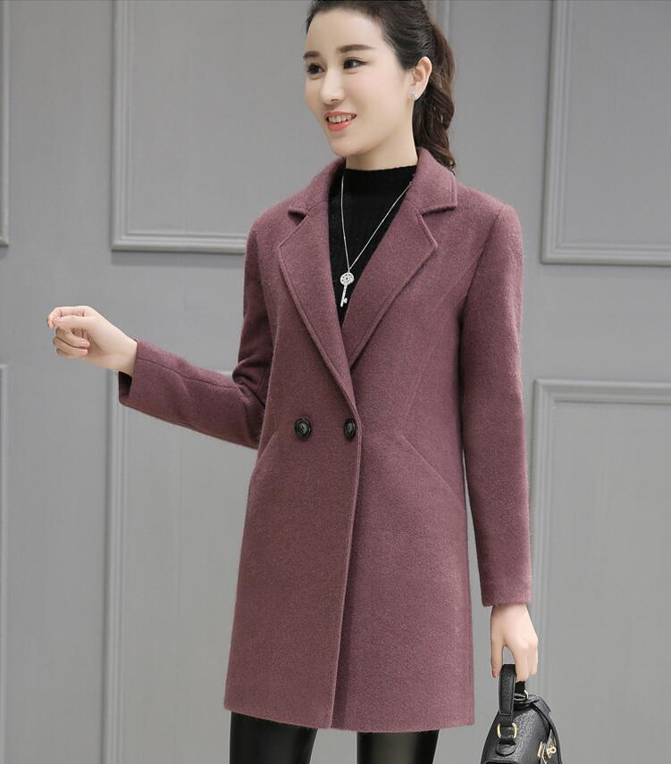 Korean Style new autumn Winter font b Women b font Woolen Coat Pockets Double Breasted Button