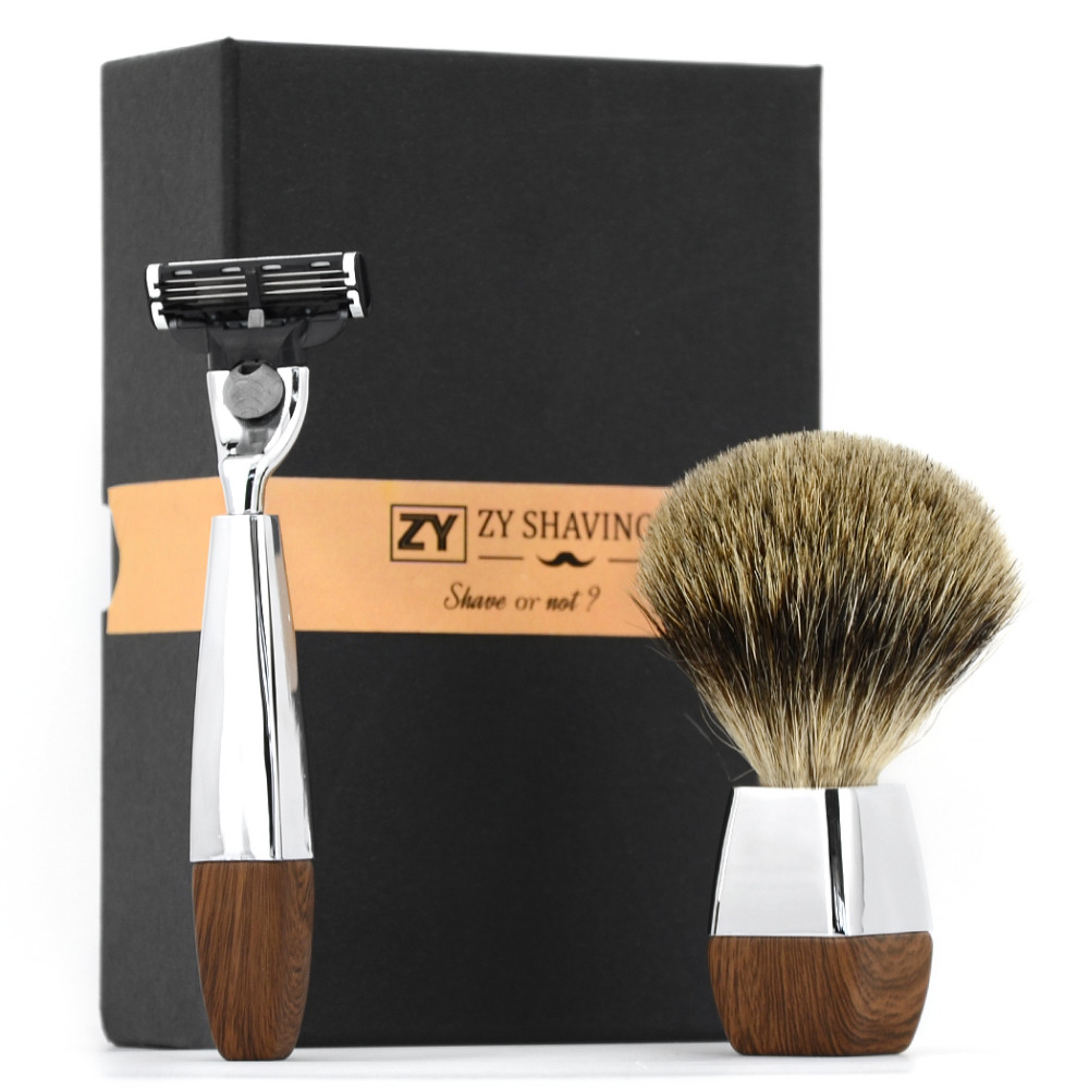 ZY Men Manual 3 Blade Safety Razor Set Shaving Brush Finest Badger Hair For Shave Beard Barber Face Cleaning Tool 2pc set stainless steel man shaving safety razor and badger beard shave brush
