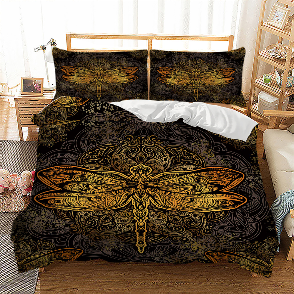 Tribal Elephant Bedding Set Boho Mandala Golden Design Dragonfly Duvet Cover Indian Symbol Bed Set Bedclothes Bed Lines 3pcs