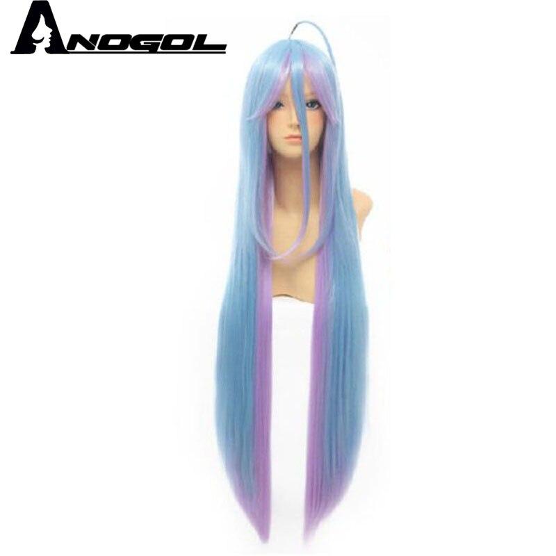 Anogol Zwei Töne Kein Spiel Natürliche Kein Leben Lange Gerade Blau Mix Lila Synthetische Kostüm Cosplay Perücke Für Party Modernes Design