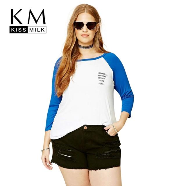 Kissmilk Плюс Размер Новая Мода Женская Одежда Повседневная Опрятный Стиль Топы Уличной О-Образным Вырезом Лоскутное Печати Футболки 3XL 4XL 5XL 6XL