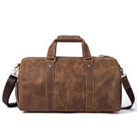 Luxury Brand Crazy Horse Leather Unisex Travel Bags Large Capacity Vintage Scrub Wearable Storage Coffee Men Travel Duffle