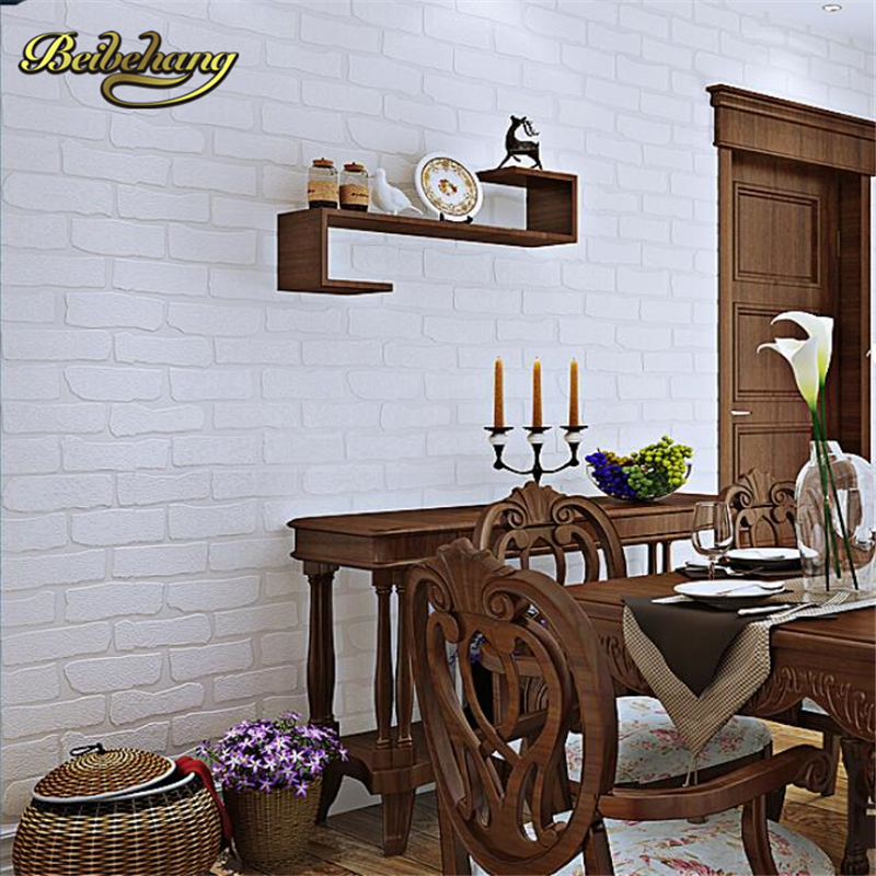 beibehang Mediterranean-style white brick roll retro 3d wallpaper for living room TV background pattern simulation of wall paper shinehome black white cartoon car frames photo wallpaper 3d for kids room roll livingroom background murals rolls wall paper