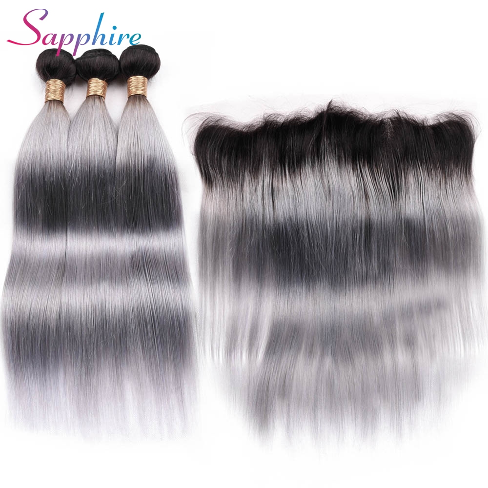 Sapphire Brazilian Straight Human Hair 3 Bundles with 13x4 Lace Frontal 1B Grey Ombre Color Non Remy Human Hair Free Shipping