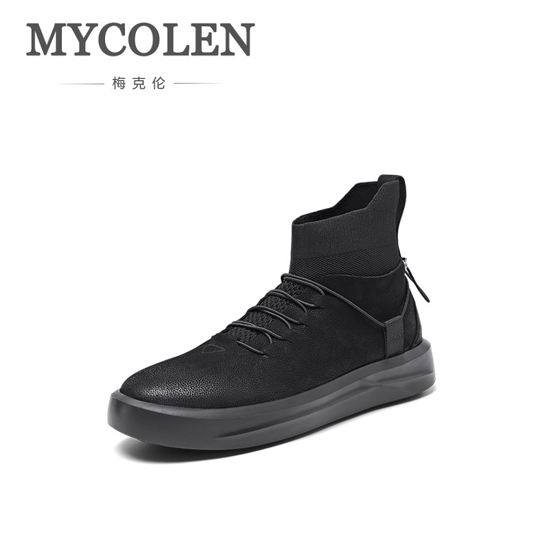 MYCOLEN Brand New White Color High Top Shoes Men Casual Lace-Up Shoes Male Fashion Design Sneaker Chaussures Hommes En Cuir simple men s casual shoes with white and lace up design page 5