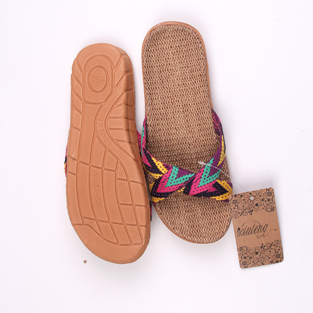 2019 Fashion Flax Home Slippers Indoor Floor Shoes Cross Belt Silent Sweat Slippers For Summer Women Sandals 5