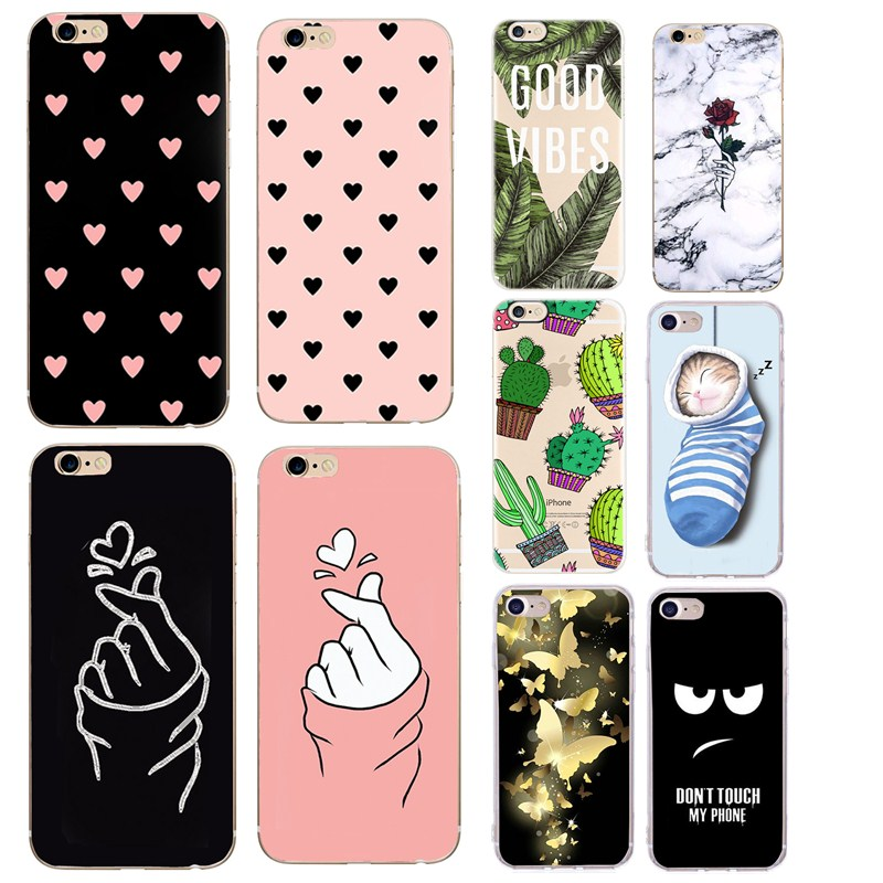 Love Heart Silicone Case For Capinha iphone 8 plus 6S 6 7 8 5SE 5 5S Cute Pig Cat Ultra Thin For iphone x xs max Cover Shell