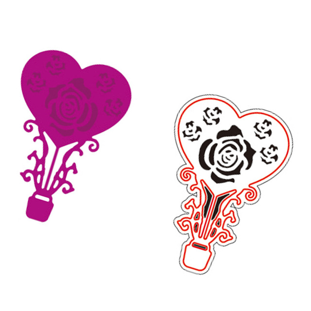 43x63mm heart rose embossing template metal cutting dies stencil for