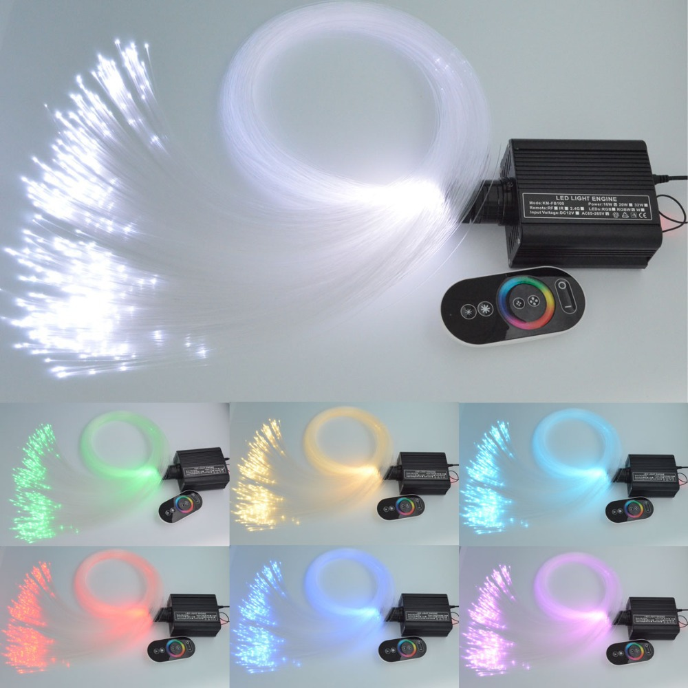 16W LED  Fiber 0ptic Star Ceiling Lighting Kit 0.75mm(150pcs*2m) PMMA Optical Fiber + RGB Light Engien  Touch  Remote
