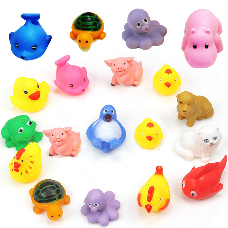 MINI Cartoon Animals Rubber Dolls Baby Bathing Water Toys Press ...
