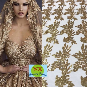 High Quality African Sequin Fabrics Embroidery French Tulle Lace Fabrics For Nigerian wedding ML6084