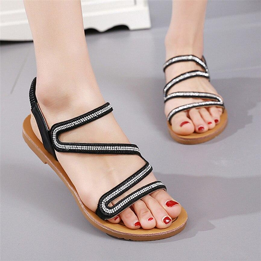 b8ed9719f6 Shoes Women's Summer Women Shoes Open-Toe Rhinestone Flat Sandals Elastic  Band Casual Sandals Women Shoes Low Heels Sandal 28#4