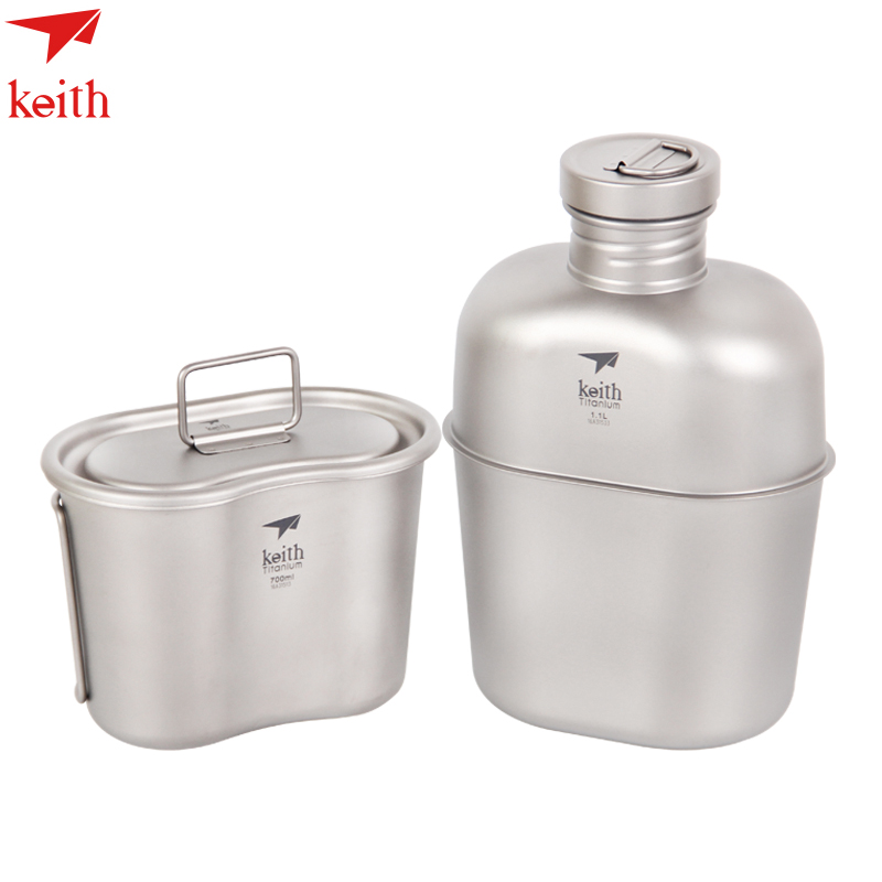 Keith Hot Sale 1100ml Titanium Sports Kettle And 700ml Titanium Lunch Boxes Camping  Water Bottles Army Kettle