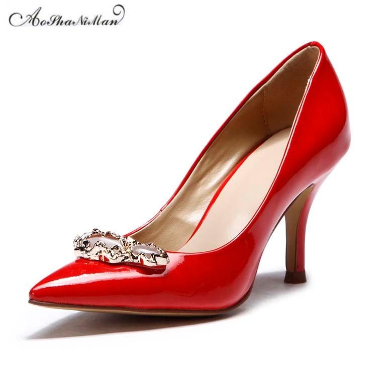 Chaussures Pointu Pompes Nouvelle Mince Cuir Conception 2019 Rouge Les De Talon En Bout Véritable Printemps Pour Mariage Talons Élégant Femmes wfq7Oz