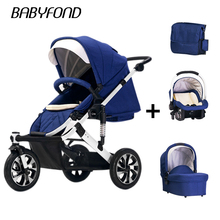 лучшая цена 4 in 1 Baby stroller three wheel trolley high landscape can sit and lying baby stroller can be turned to light folding folding