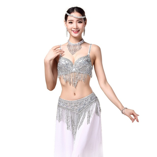 2018 Women Bellydance Clothes Eastern Style Beaded Top and Belt 2pcs Set Costumes for Belly Dance Bra Costume with Necklace