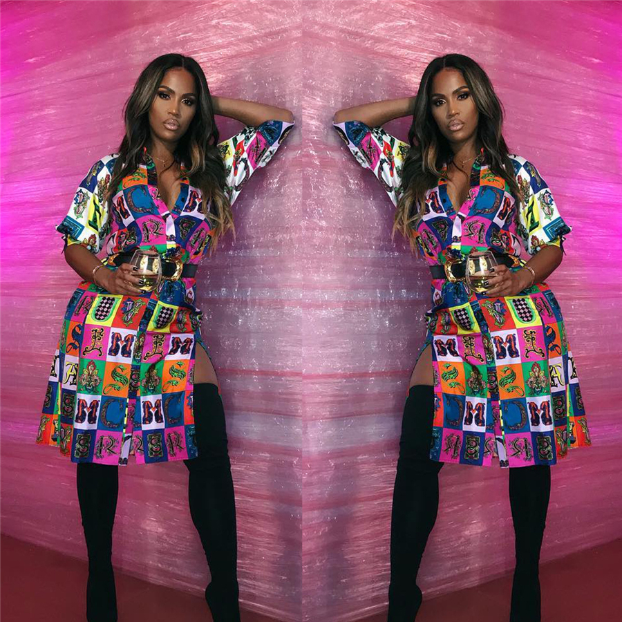 Best selling African shirt European and American fashion sexy digital printing split 7-sleeve shirt skirt (2)