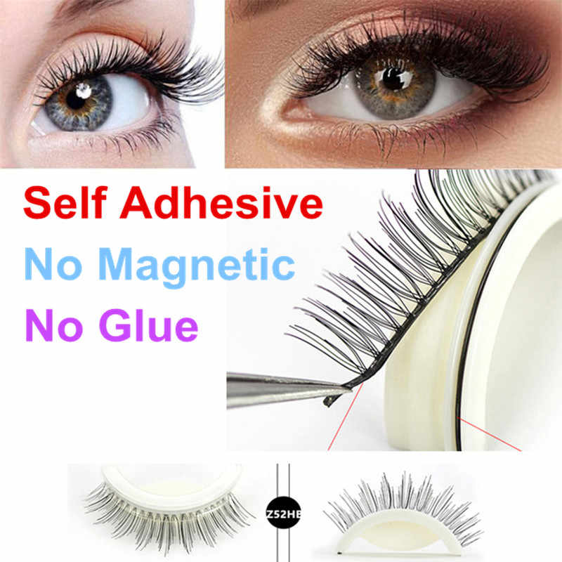 8bbf9da8496 3D Mink Self Adhesive False Eyelashes Natural Long Fake Eyelashes Set  Wearing Without Glue Long Lasting