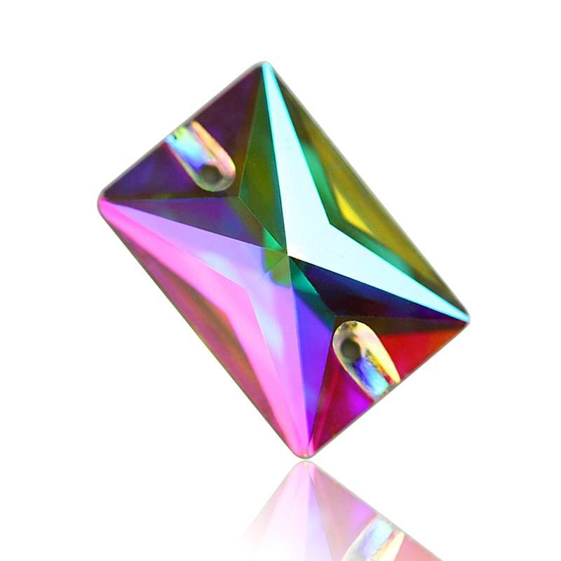 Platz Kristall AB Farbe Silber Basis Nähen Auf Strass Perlen, nähen Auf Steinen Spacer tasten für Bekleidung Schmuck 13*18mm, 18*25mm