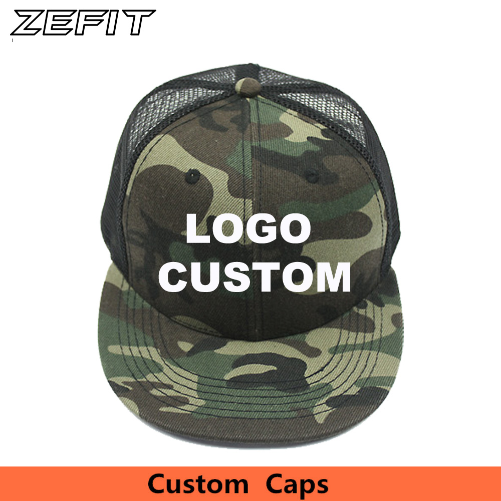 Custom Camo Snapback Trucker Caps Free 3D Embroidery Printed Logo Black  Mesh Hat Flat Bill
