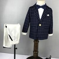 Boys Clothings Sets for Weddings Boys Clothes 2018 Fashion Plaid Blazer+Pant+Shirt Boys Suits Children Formal Suits 4pcs S84651A