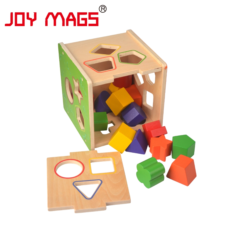 все цены на JOY MAGS Toy Wooden Shape Sorting Cube Hole Cube For Shape Sorter Cognitive And Matching Wooden Baby's First Block Toy онлайн