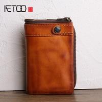 AETOO Retro leather male short brown wallet vertical head cowhide multi card zipper purse Multifunctional small wallet