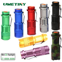 UMETINY CREE Q5 6000K-6500K White Color Mini Flashlight LED 3 Mode Portable Torch Zoomable 14500 AA Battery Spotlight Lanterna