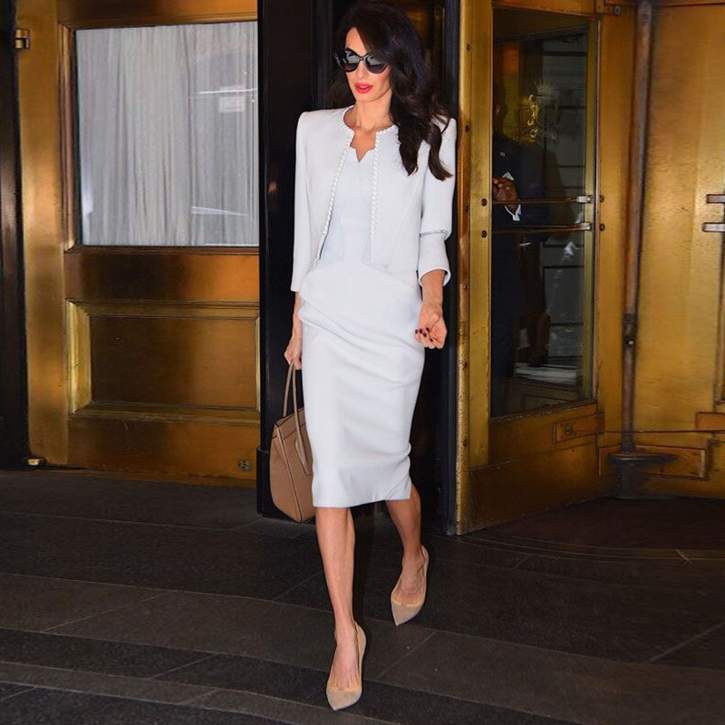 Coat Milan Runway High Quality 2019 Autumn New Women'S Fashion Party Office Vintage Elegant Chic AmalAlamuddin White Jacket-in Trench from Women's Clothing    1