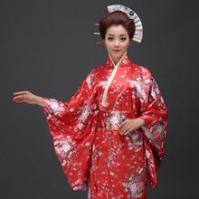ffeae57049 Red Vintage Japanese Kimono Yukata Haori Costume Retro women Dress Obi  Cosplay Gown