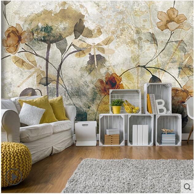 Parati In 3d.Us 8 99 50 Off Europe Vintage Mural Flower Wallpaper Living Room Wall Decor Carta Da Parati 3d Fiori Papier Peint 3d Papier Peint Pour Les Murs In