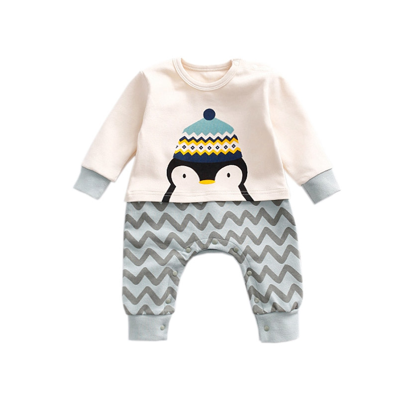 цена на Infant Penguin Clothes Autumn Warm Cotton Jumpsuits Long Sleeve Baby Girl Newborns Fashion Jumpsuit Bebes Ropa Recien Nacidos