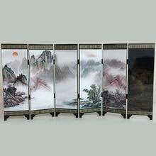 Разделитель комнаты складной экран 6 Панель Печатный холст восточный, азиатский вид 48*24*0,6 см