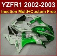 Jewson Белый и зеленый цвета части тела для Yamaha YZF R1 2002 2003 обтекатели YZF R1 02 03 YZF1000 02 03 + пользовательские комплект обтекателей