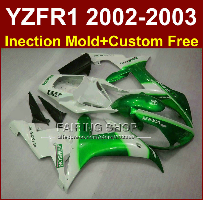 Jewson white green body parts for <font><b>YAMAHA</b></font> YZF <font><b>R1</b></font> <font><b>2002</b></font> 2003 <font><b>fairings</b></font> yzf <font><b>r1</b></font> 02 03 YZF1000 02 03 +custom <font><b>fairing</b></font> kit image