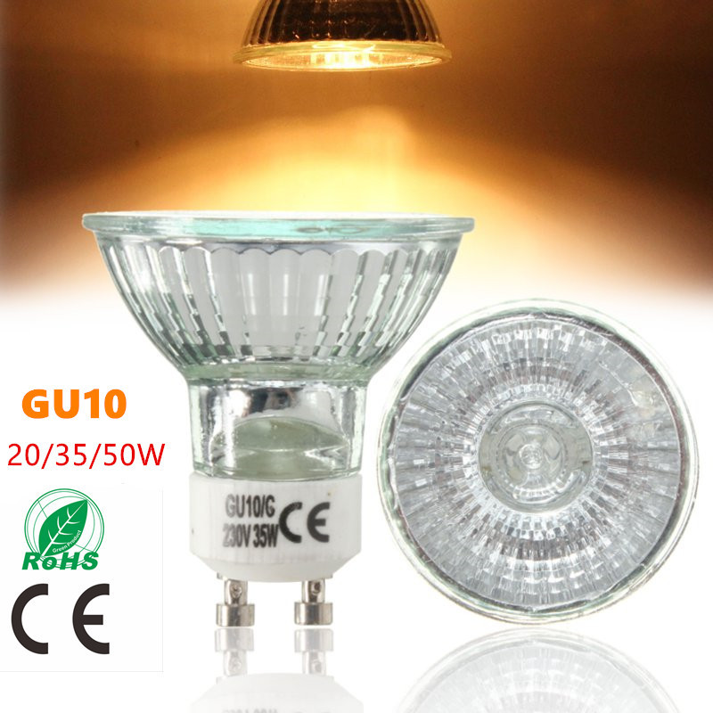 GU10 20/35/50W Halogen Bulb High Bright 2800K High Efficiency Clear Glass Lights Warm White Home Lamp Light Bulbs AC220-240V