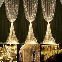 3x1\/3x3\/6x3m led curtain fairy string light fairy light 300 led Christmas light for Wedding home garden party decor RV