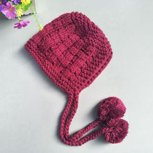 Baby Girl's Crocheted Hat Toddler Knit Hat With Earflaps Winter Warm Hat For
