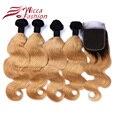 Onda Del Cuerpo Del Pelo Humano Remy indio Ombre 4 Paquetes Con Cierre 1B/27 # Blonde de Miel de Cierre Con el Pelo teje Rubio de Oro