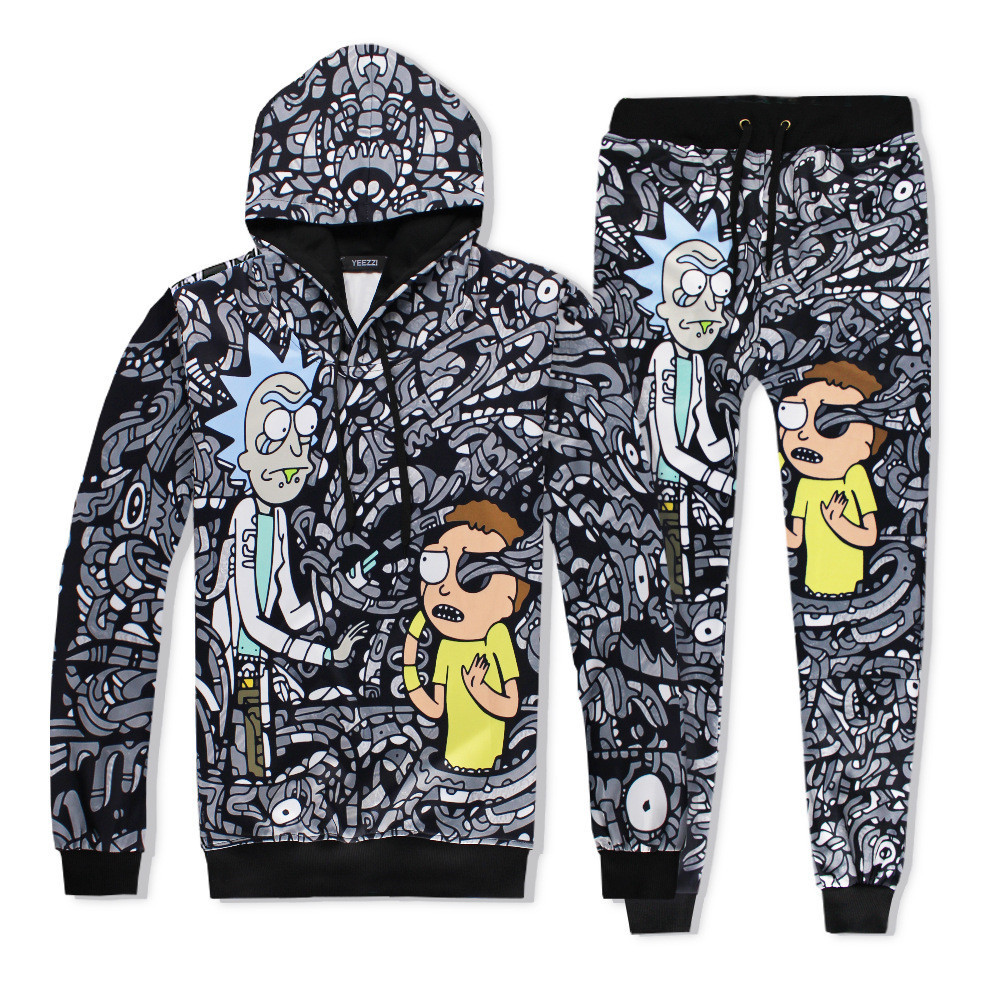 Cosplay Halloween Anime Rick and Morty Pattern 3d Print Cute Couples Set Jacket Jacket Sweater/Pants full set men women