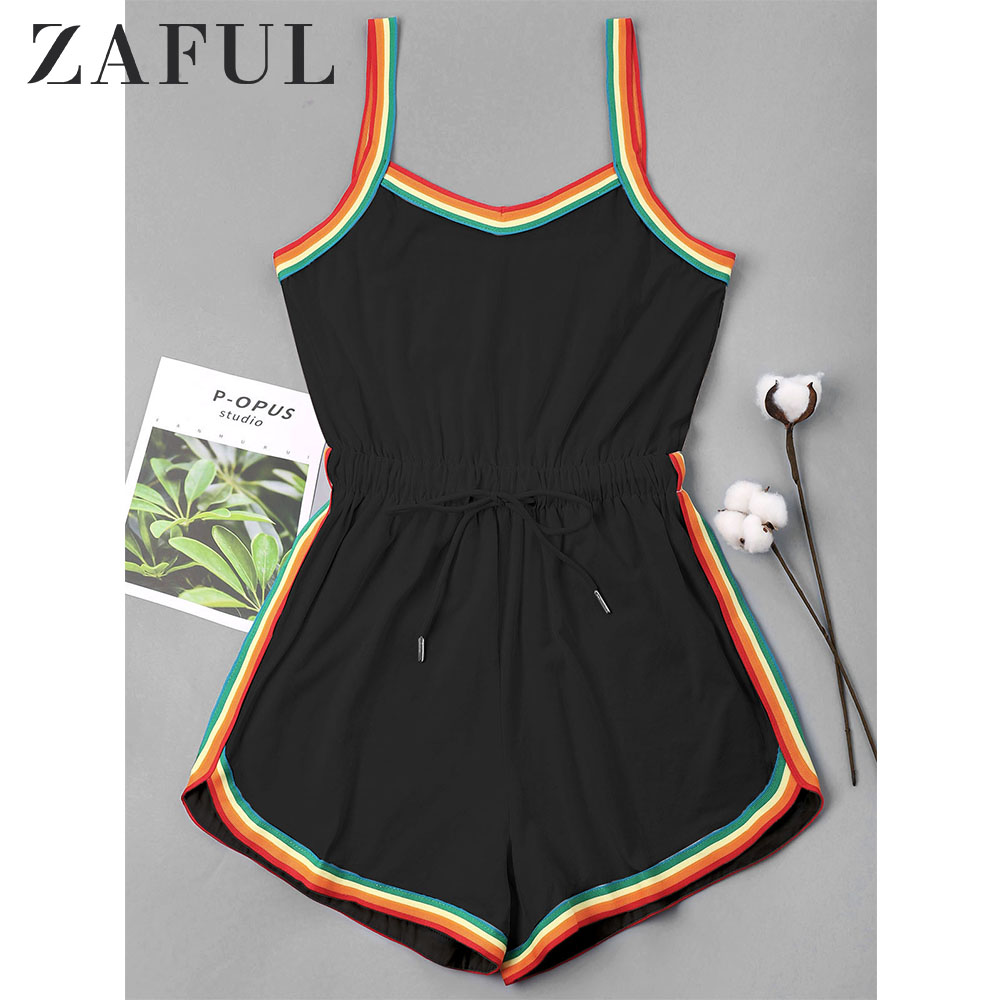 ZAFUL Romper Playsuits Spaghetti-Strap Sportwear Zaful-Rainbow-Trim Casual Women Sleeveless