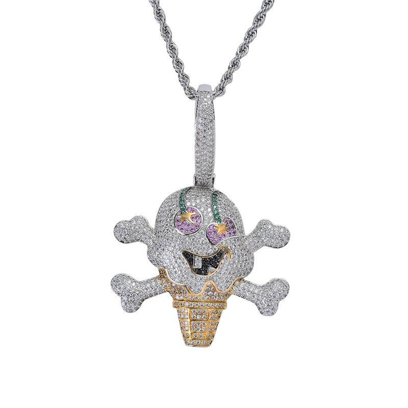 Hip Hop bijoux Pirate crâne crème glacée pendentif collier mode AAA cubique Zircon roche hommes colliers